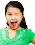 Close-up of girl winking Royalty Free Stock Images