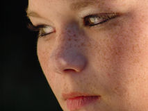 Close-up of girls face. Serious face Royalty Free Stock Images