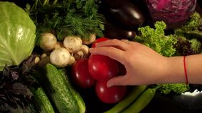 Girl puts tomato on a pile of different vegetables. Close-up of a girls hand and many different vegetables on a black background. Vegetarianism. A healthy diet stock footage