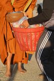 Close up : Give rice food in alms to a Buddhist royalty free stock photo