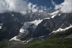 Glacier in Aosta valley, Italy. Close up of a glacier and mountains over 3000 m in the summertime in Aosta valley, north Italy royalty free stock images