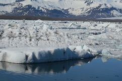 Close up of glaciers in frigid waters in Iceland. Beautiful view of glaciers in frigid waters in Iceland stock photo