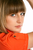 Close up of glamor girl in a orange dress isolated Stock Photos