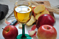 Close up Glass of Apple Juice with Fresh Red Apple royalty free stock images
