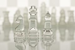 Close-up of glass chess Royalty Free Stock Image