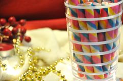Close up Glass of Colorful Wafer Stick stock photography