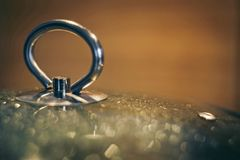 Close-up glass cover from pan, covered with condensate. Blurred bokeh cooking concept background. Soft defocused shot. Close-up of a glass cover from the pan stock image