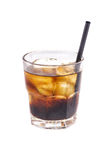 Close up of glass with iced alcohol cocktail with whisky and cola. Close up of glass with iced alcohol cocktail with whisky and cola isolated on a white Royalty Free Stock Photos