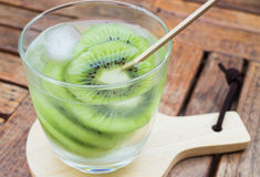 Close-up glass of kiwi infused water Stock Photography