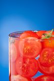 Close-up of glass with tomato juice Stock Photo
