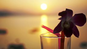 Close up of glass of tropical cocktail decorated a flower at amazing sunset and beautiful sea view background with bokeh. Glass of tropical cocktail decorated a stock video footage