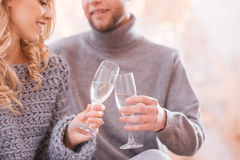Close up of glasses being filled with champagne Royalty Free Stock Image