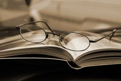 Close up on the Glasses and the Magazine Royalty Free Stock Photo