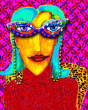 Close-Up Glasses. Original art work on theme of friendship between women of a certain age and humor. Her new close-up glasses are a great accessory Stock Photo