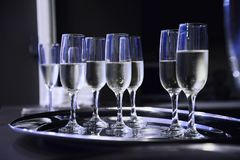 Prosecco served on a tray. Close up of glasses with prosecco. Catering theme Royalty Free Stock Images