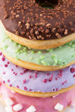 Close up of glazed colorful donuts Royalty Free Stock Photography