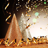 Close up Glittery Party Hats and Streamers Royalty Free Stock Photo