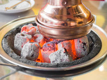 Close up of glowing hot charcoal, Use for steak grilling Royalty Free Stock Photos