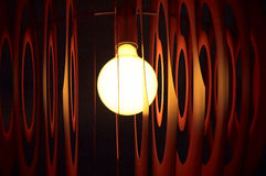 Close up glowing lamp. Orange glowing, blury lamps in the darknes.Close up Stock Images