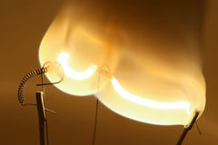 Close up of glowing light bulb thread Royalty Free Stock Photos