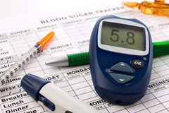 Close up glucometer Stock Photo