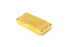 Close up of gold bar  on white background Royalty Free Stock Photography