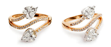 Close up of a Gold and Diamond rings. Royalty Free Stock Photo