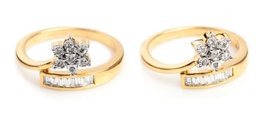 Close up of a Gold and Diamond rings. Stock Photo