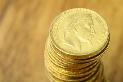 Gold french coin, Napoleon Stock Image