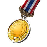 Close up of gold medal isolated white Stock Photography