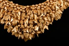 Close-up of gold necklace Stock Photography