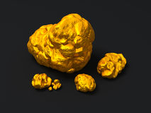 Close-up  Gold nuggets on black background. Finance illustration Royalty Free Stock Images