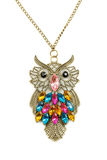 Close up of a gold owl pendant Stock Photography