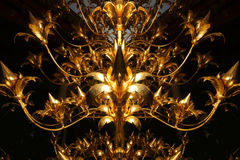Close-up gold shinny texture on brightness flower with black background Royalty Free Stock Photos