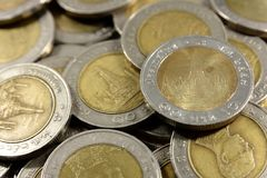 Close up gold and silver coins Stock Image