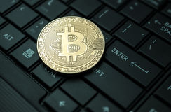 Close up golden bitcoin coin crypto Currency background concept. Royalty Free Stock Image