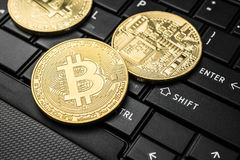 Close up golden bitcoin coin crypto Currency background concept. Stock Photography