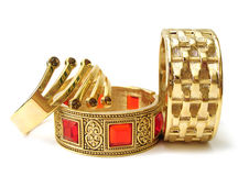 Close-up of golden bracelets Royalty Free Stock Photo