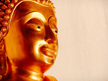 Close up of golden buddha head statue in Ayutthaya Thailand Royalty Free Stock Images
