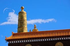 Golden canister. The close-up of Golden canister of temple hall of Labrang Lamasery in Gansu, China royalty free stock photography