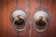 Close up Golden Chinese Old Door Royalty Free Stock Photography