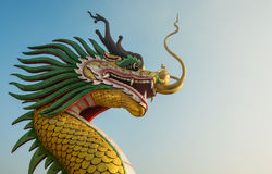 Close up of Golden dragon head statue. Golden dragon head statue on clear sky Stock Image
