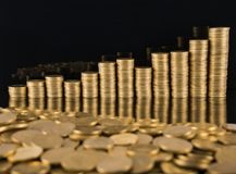 A close-up of golden fifty cent coins royalty free stock photo