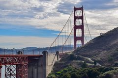 Close-up Golden Gate Bridge and San Francisco Cityscape from Marin Headlands. Close-up view of the Golden Gate Bridge and the City of San Francisco in the royalty free stock photos