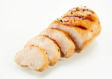 Grilled, sliced chicken breast with copy space Stock Images