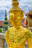 Close up of Golden guardian statue, Wat Phra Kaew, Bangkok, Thailand. Royalty Free Stock Photos