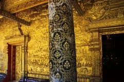 Close up of golden ornamented temple wall - Wat Xieng Thong, Luang Prabang stock images
