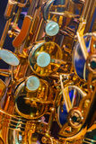 Close up of a Golden Plated Saxophone Royalty Free Stock Photography