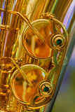 Close up of a Golden Plated Saxophone Stock Photo