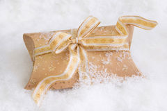 Close up of golden present box for christmas Stock Images